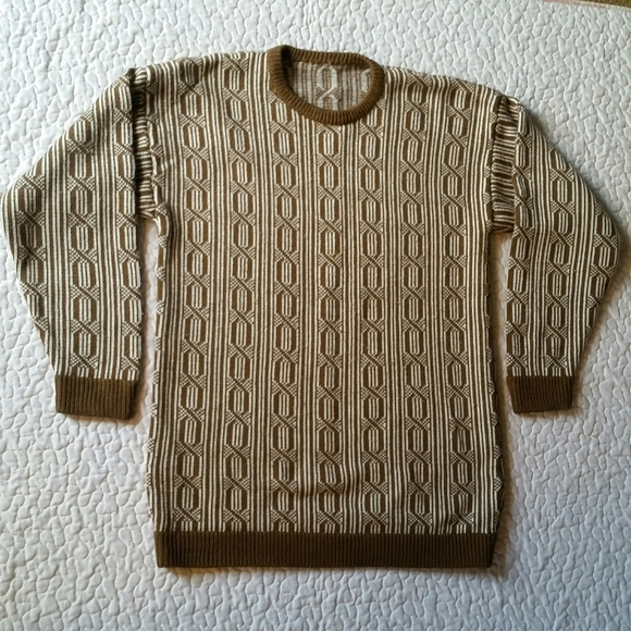 Vintage Handmade L Knit Brown Tan Crew Sweater